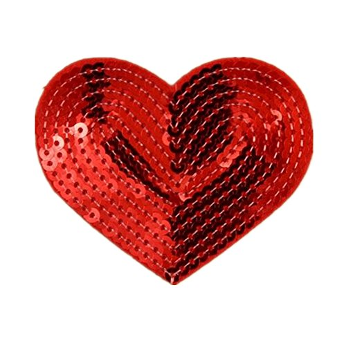 Red Sequin Heart - Ximkee Pack of 10 Shiny Heart Sequins Iron on Applique Embroidered Patches-Red