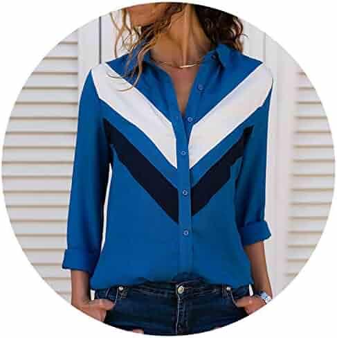73506b08fb0 Fashion Long Sleeve Turn Down Collar Office Shirt Chiffon Blouse Shirt  Casual Tops Blusas Femininas