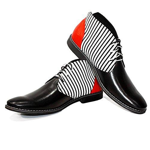Pelle Vacchetta Pelle Morbido Chukka Modello Boots in Handmade Italiano Strisce Allacciare Bianca Uomo da YqRvFPxqw
