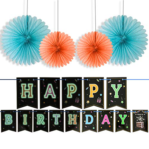 Happy Birthday Banner With 4 Fans,Glow In The