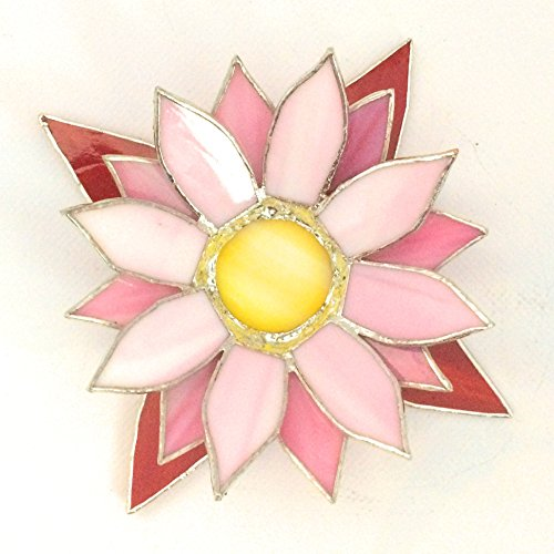 Red & Pink Lotus Stained Glass Candle Holder -