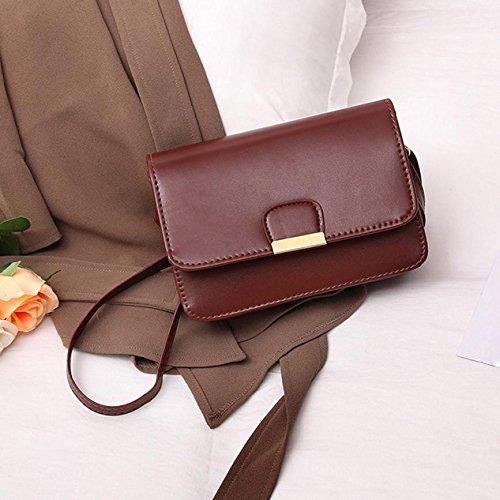 AASSDDFF Moda Para Mujer Simple Bolso Sólido Pequeños Bolsos de Hombro Bolsos Crossbody Para Niñas Bolsas de Mensajero Para Mujer Bolso Mujer,Marrón marrón