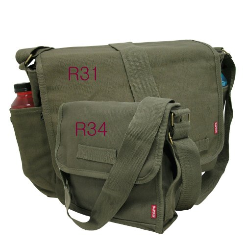 (RAPID DOMINANCE 2 Pack Combo Classic Military Messenger Bag with Military Field Bag (R31 Olive + R34 Olive))