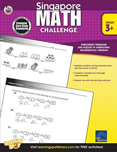 Singapore Math - Challenge Workbook for 3rd, 4th, 5th Grade Math, Paperback, Ages 8-11 with Answer Key