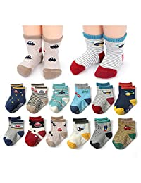 Dicry 12 Pairs Baby Boy Anti Slip Crew Socks With Grips for Toddler Kids