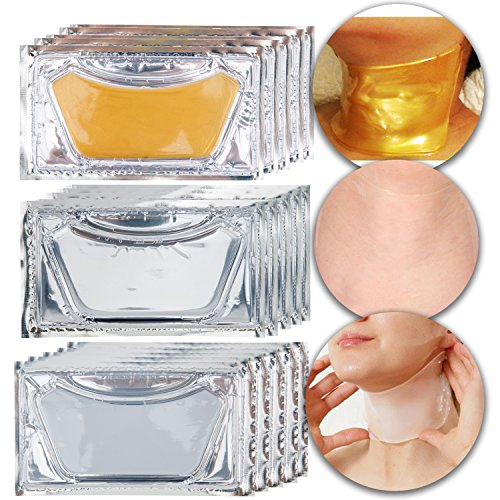 Anti Aging Set Kit of 15pcs Neck Chest Décolleté 24 K Gold Golden, Milk White and Clear Transparent Collagen Gel Crystal Masks for Wrinkles Removal, Skin Toning, Firming, Whitening and Moisturizing ()