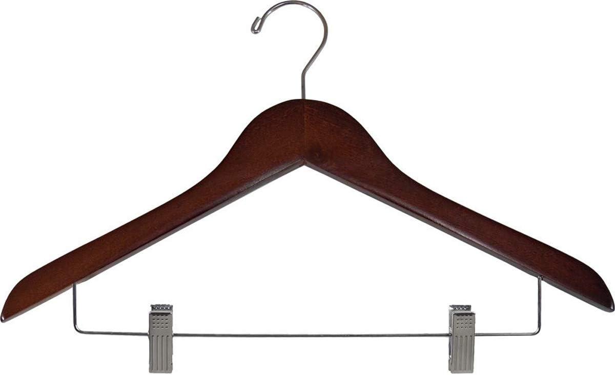 15インチ木製コンボ衣類ハンガー クリップ付き 小売ディスプレイ ストア 固定具 ウォールナット 50個入り
