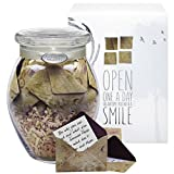 Glass KindNotes INSPIRATIONAL Keepsake Gift Jar of Messages for Him or Her Birthday, Thank you, Anniversary, Just Because – Vintage Letters