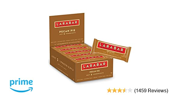 Larabar Gluten Free Bar, Pecan Pie, 1.6 oz Bars (16 Count), Whole Food Gluten Free Bars, Dairy Free Snacks