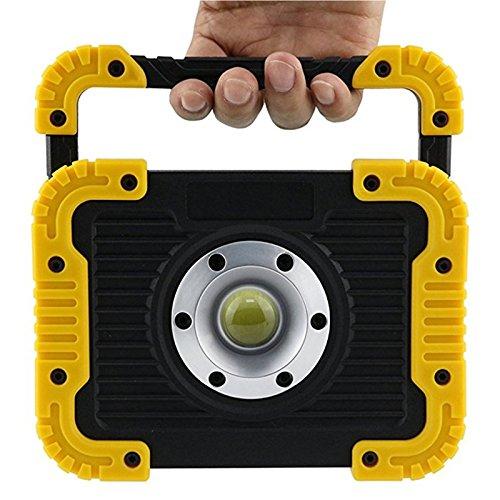 TOOGOO Luz de 10W trabajo LED COB 10W de portatil Reflectores de carga USB Luces de camping al aire libre Focos Proyectores Bateria recargable incorporada Banco de energia con amarillo da74c7