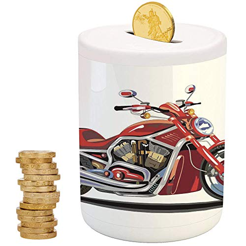 Freedom Engine (Motorcycle,Ceramic Girl Bank,Printed Ceramic Coin Bank Money Box for Cash Saving,Super Sexy Motorbike with Vivid Color Properties Winged Engine Machine Freedom)