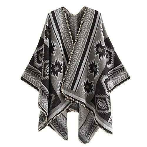 Women Open Front Oversized Blanket Poncho Cardigan Coat Vintage Pattern Cape Shawl