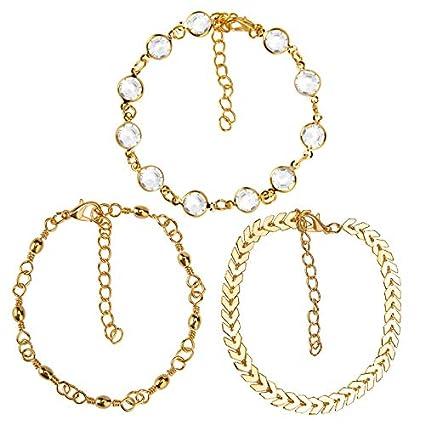 19efba53ff4 Amazon.com  Culturemart 3pcs 1Set 2018 Gold Crystal Sequins Anklet ...