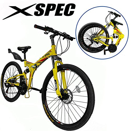"Xspec 26"" 21 Speed Folding Mountain Bike Bicycle Trail Commuter Shimano Yellow"