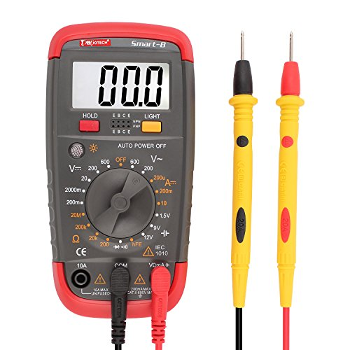 DMiotech Digital Multimeter Battery Tester Battery Load Test Resistance Continuity Diode AC / DC Voltage Current Transistor  hFE Meter with LCD Display (Multimeter Transistor Test)