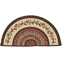VHC Brands Christmas Holiday Flooring - Holly Berry Jute Red Stenciled Half Circle Rug