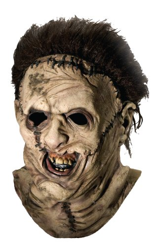 Texas Chainsaw Massacre Costume with Leather Face Deluxe Overhead Mask, Gray, One Size (Halloween Masks Scary)