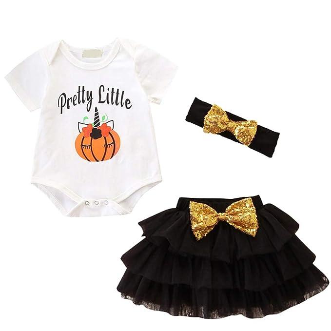 0b1ad8dc6 My First 1st Halloween Outfit Baby Girls Pretty Little Unicorn Pumpkin  Romper + Ruffle Tulle Skirt ...