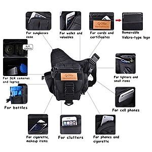Camera Shoulder Bag, Qcute Waterproof Multi-functional Tactical Military Messenger Shoulder SLR Camera Bag Pack Backpack with Shockproof Insert for Hiking Camping Trekking Cycling
