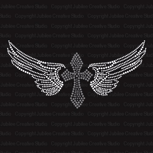 Cross Wings Iron On Rhinestone Crystals and Rhinestud Transfer by JCS Rhinestones