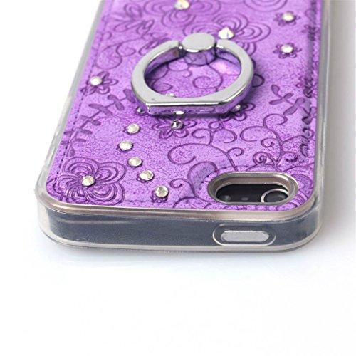 iPhone 5 / 5s Hülle, Apple iPhone 5 5s Hülle Lifetrust®[ Lila ] Schutzhülle Flip PU Ledertasche Ständer Schutzhülle Tasche Hülle Case Cover mit Kreditkartensteckplätze für Apple iPhone 5 5s