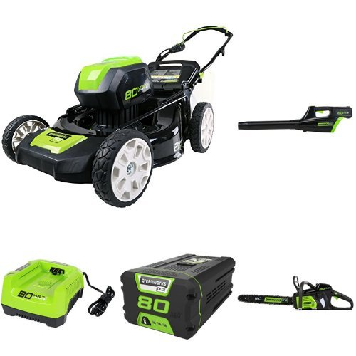 """GreenWorks Pro 80V 21"""" Lawn Mower + Blower + 18"""" Chainsaw w/ (1) 2Ah Battery & Charger"""