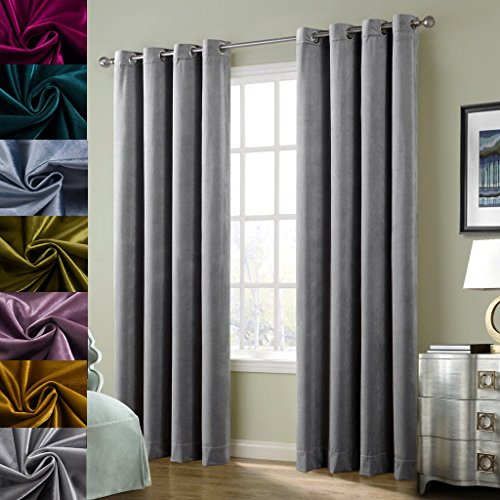 Super Soft Luxury Velvet Set of 2 Smoky Gray|Silver Gray Classic Blackout Curtains Panels Home Theater Grommet Drapes Eyelet 52Wx108L-inch Light Grey(2 panels) (Velvet Panels)