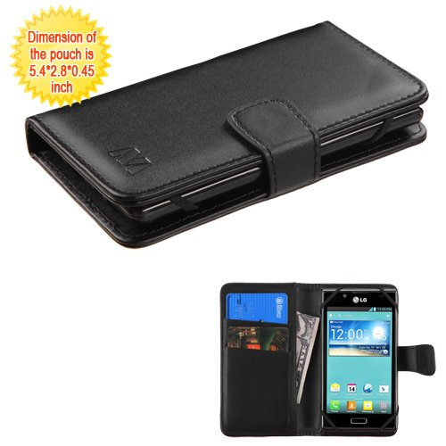 (Case+Stylus, Fits Universal Apple iPhone Samsung LG etc. PU Leather Wallet w Credit Card Slots Black Small for 4.0