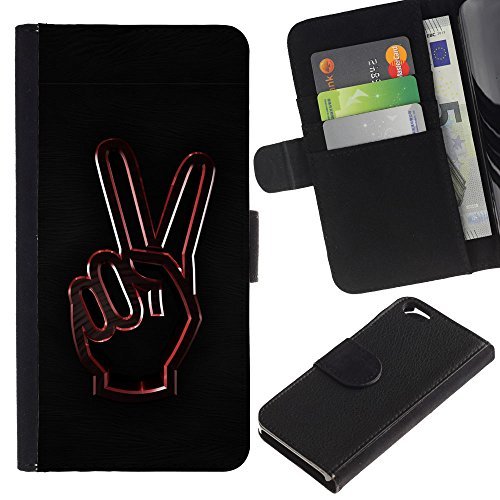 EuroCase - Apple Iphone 6 4.7 - Peace Hand Sign - Cuir PU Coverture Shell Armure Coque Coq Cas Etui Housse Case Cover