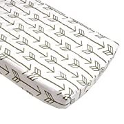 Arrow Quilted Changing Pad Cover (Gray Arrows on White) - Fits Standard Contoured Changing Pads