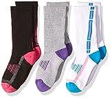 Jefferies Socks Big Girls' Sport Tech Crew Half Cushion 3 Pair Pack, Girl Multi, Large