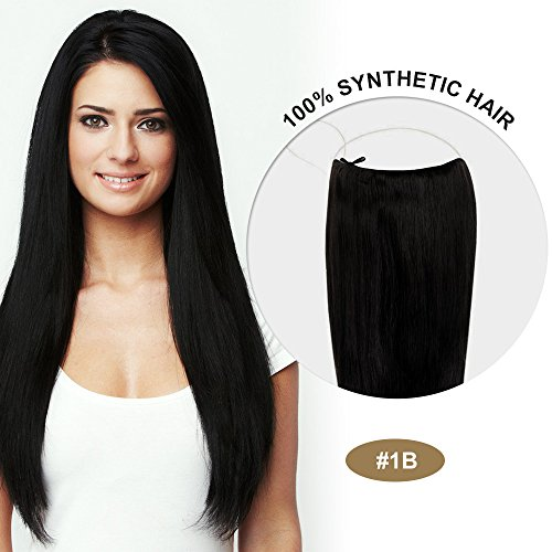 COCO Secret Extensions Synthetic Hair Extensions Straight Black 16 Inches