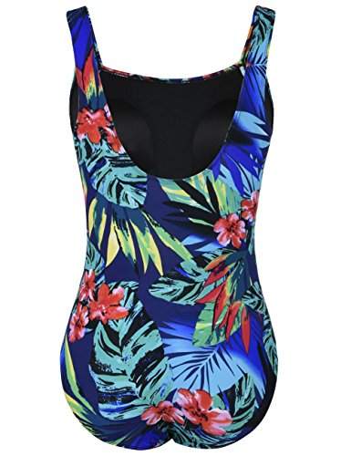 Mycoco Women's Shirred One Piece Swimsuit Tank Bathing Suits Tummy Control Swimwear Tropical Leaves 12 by Mycoco (Image #2)