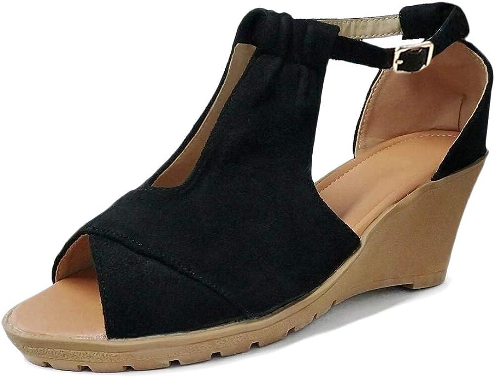 Minetom Femme Mode Sandales Compens/ées Talon Plateforme Lani/ère Cheville Espadrille Chic Boucle Sandale Elegantes Bout Ouvert Chaussures