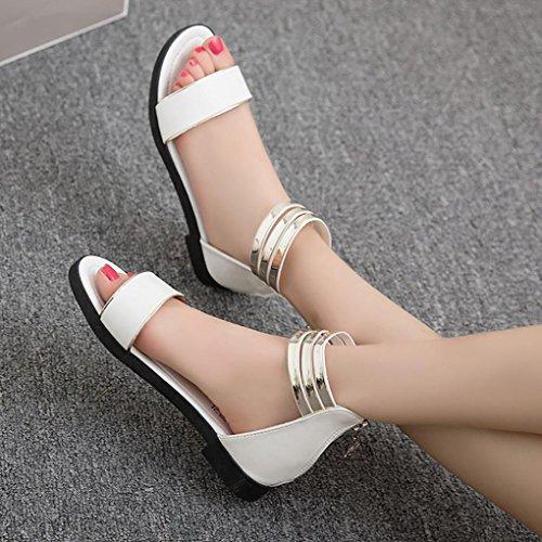 LHWY Sandalen Damen Frauen Sommer Flachen Strand Sandalen Casual Mädchen Schuhe Peep-Toe Low Schuhe Roman Damen Flip-Flops Schwarz Weiß Weiß