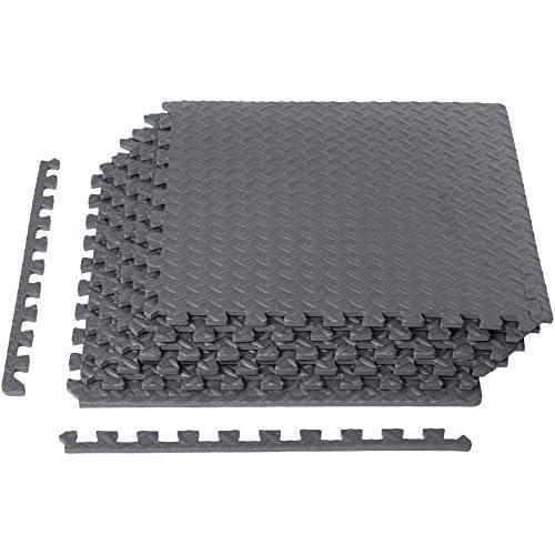 LD AmazonBasics Puzzle Exercise Mat with EVA Foam Interlocking Tiles Grey