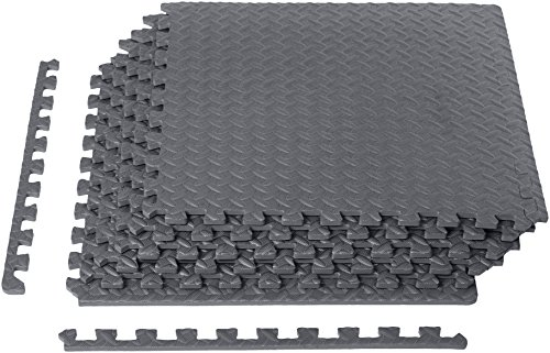 AmazonBasics EVA Foam Interlocking Exercise Gym Floor Mat Tiles - Pack of 6, 24 x 24 x .5 Inches, Grey (Best Baby Mats And Gyms)