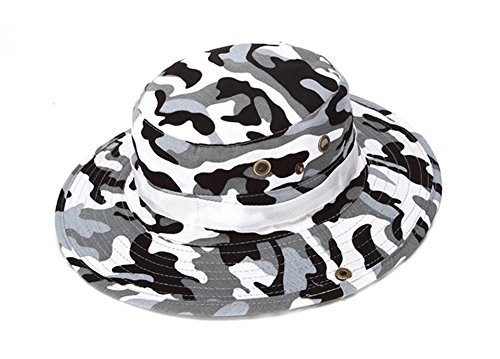 (Mcolics Fishing Sun Boonie Hat Summer UV Protection Cap Outdoor Camouflage Hat (Grey&White Camouflage))