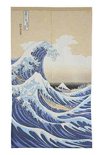 Made in Japan Noren Curtain Tapestry Ukiyoe Hokusai The Great Wave Kanagawa ()