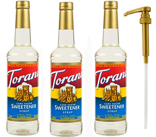 - Torani Cane Sugar Sweetener Syrup, 25.4 oz (3 pack) Plus One Syrup Pump