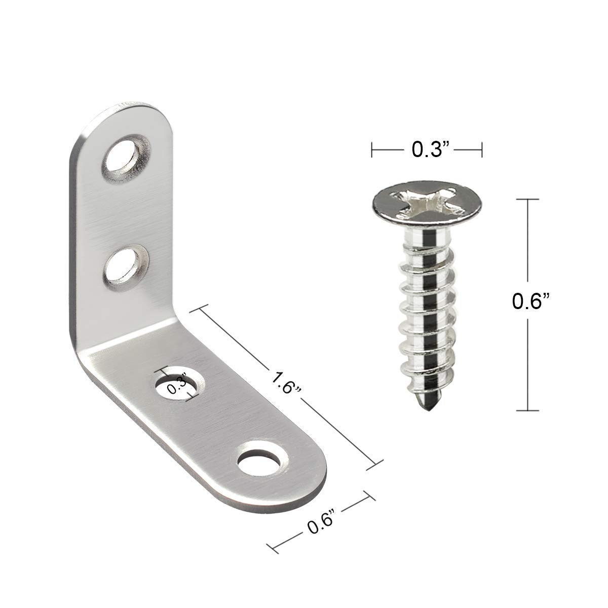 Amadeus X Corner Brace 40mm40mm Right Angle Shelf l Shaped Brackets for Furniture Shelves Corner Brackets Stainless Steel with Screws 16 Pieces