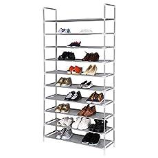 Homdox 10 Tiers Shoe Rack Fabric Shoe Tower Organizer Super Space Saving Shoe Cabinet Entryway Closet Stackable Shelves