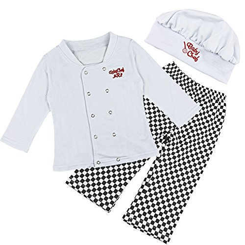 Freebily Kids Chef Cosplay Costume Kitchen Cooking and Baking Wear Kit For Those Chefs In Training White 6-12 Months