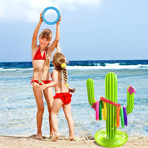 Hapdoop Inflatable Cactus Ring Toss Game, Perfect for Pool Party Float Fun Toys Luau Party Supplies Indoor Outdoor Game for Kids Adults Family Reunion or Summer Get-Together (1 Cactus 8 Rings) -