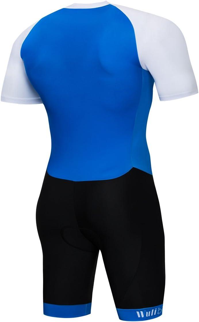 logas Triathlon de una pieza de manga corta Duathlon para ciclismo Traje de triatl/ón para hombre correr y nadar