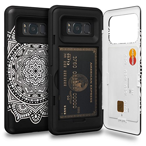 TORU CX PRO Galaxy S8 Wallet Case Pattern Mandala with Hidden Credit Card Holder ID Slot Hard Cover & Mirror for Samsung Galaxy S8 - Dreamcatcher (Get A Credit Card With Horrible Credit)