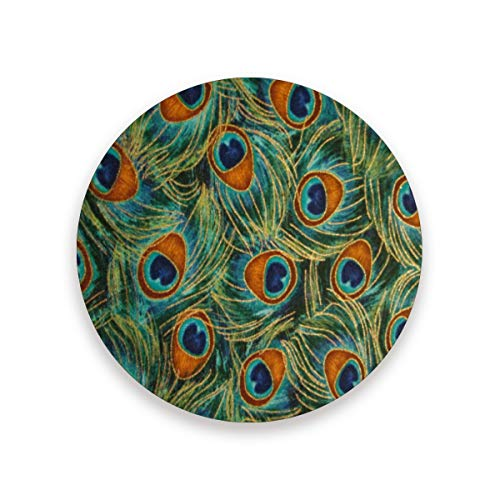 Coasters for Drinks,Peacock Feathers Gold Ceramic Round Cork Trivet Heat Resistant Hot Pads Table Cup Mat Coaster-Set of 4 - Notepad Peacock Feathers