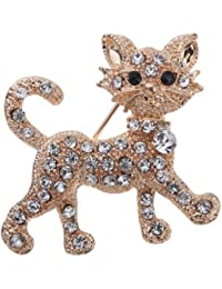 Pretty Gold Plated Full Shining Clear Crystal Cat Brooches and Pins Wedding for Women Gift