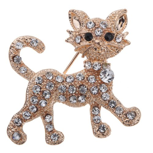 Yazilind Pretty Gold Plated Full Shining Clear Crystal Cat Brooches and Pins Wedding for Women Gift