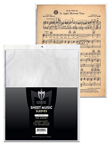 - (500) Max Pro SHEET MUSIC Sleeves - Ultra Clear Protection - (Qty= 500 Sleeves)